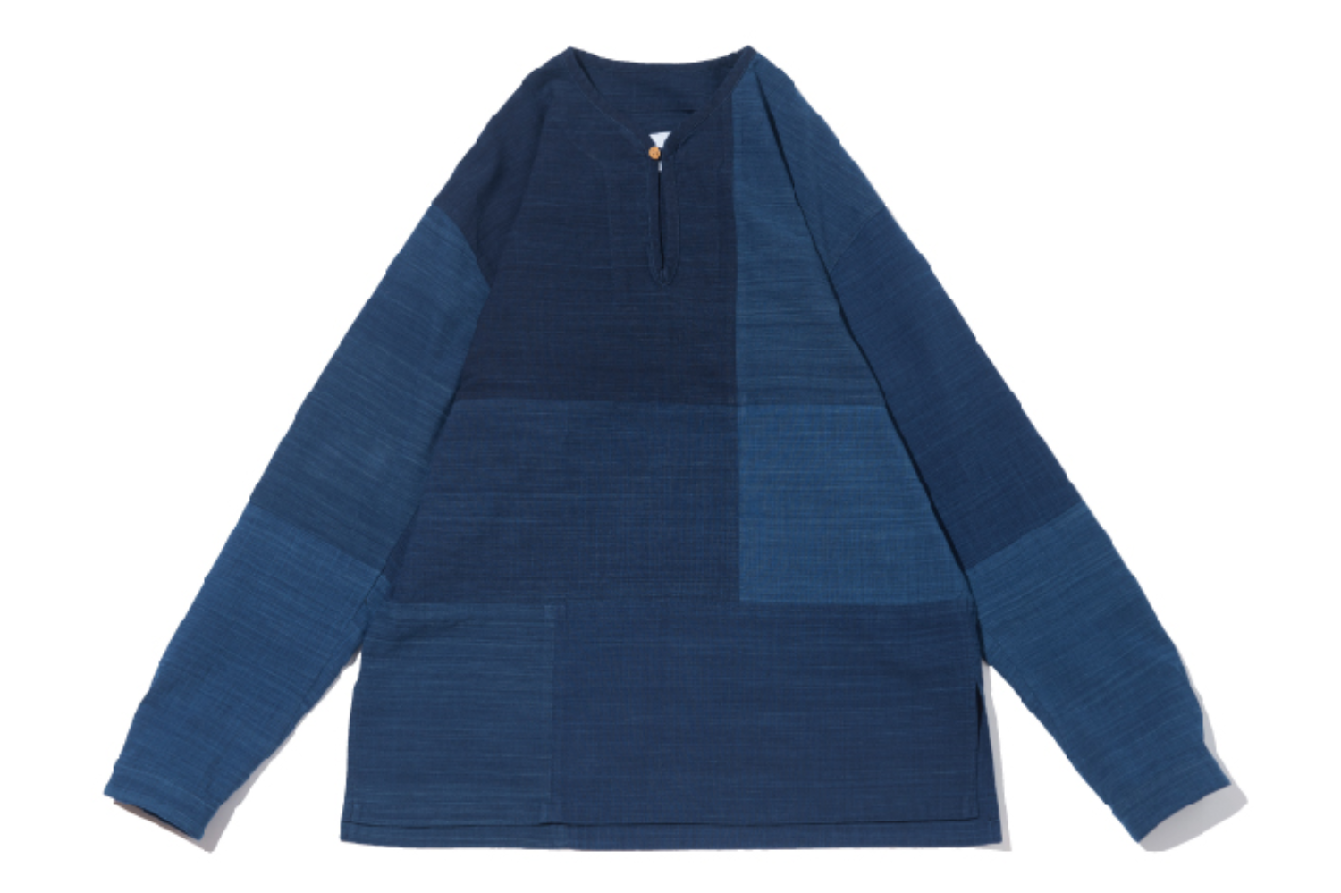 Patchwork indigo collarless tunic shirt (natural indigo dyeing)